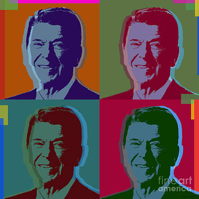 Republican Digital Art - Ronald Reagan by Jean luc Comperat