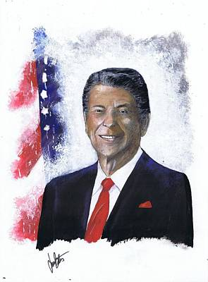 Painting - Ronald Reagan by Jerry Bates