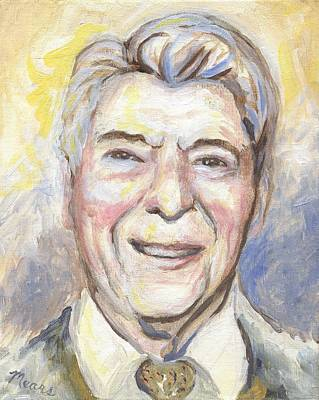 American President Painting - Ronald Reagan by Linda Mears