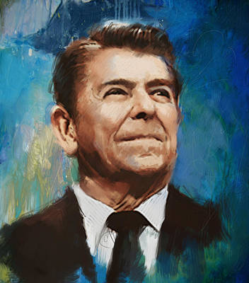 James Madison Painting - Ronald Reagan Portrait 6 by Corporate Art Task Force