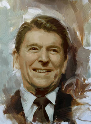 Politicians Royalty-Free and Rights-Managed Images - Ronald Reagan Portrait by Corporate Art Task Force