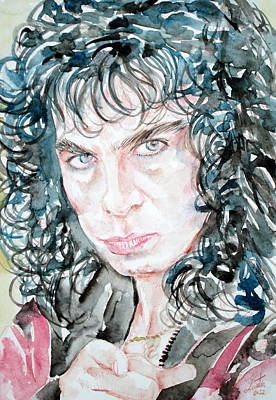 Dio Painting - Ronnie James Dio Watercolor Portrait by Fabrizio Cassetta