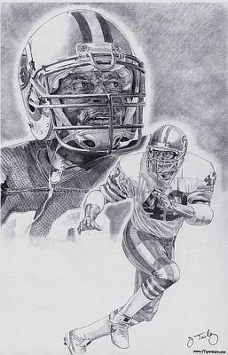 Hall Of Fame Drawing - Ronnie Lott by Jonathan Tooley