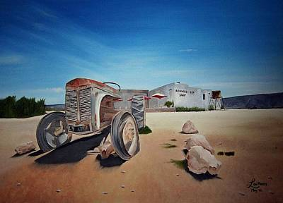 Karoo Painting - Ronnies Sex Shop by Liesel Du Plessis