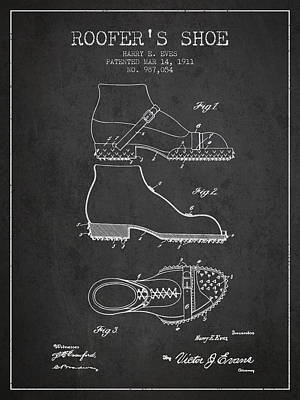 Old Boot Digital Art - Roofers Shoe Patent From 1911 - Charcoal by Aged Pixel