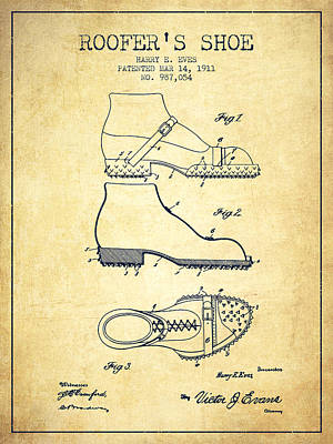 Roofers Shoe Patent From 1911 - Vintage Art Print by Aged Pixel