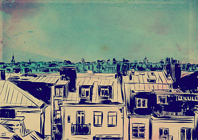 Landscapes Drawing - Roofs by Giuseppe Cristiano