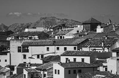 Roofs Of Ronda. Andalusia. Black And White Print by Jenny Rainbow