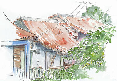 Drawing - Roofs Of Vinales by Sue Pownall