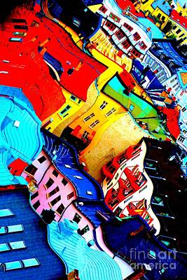 Rooftop Abstract - Bold Colors Art Print by Carol Groenen