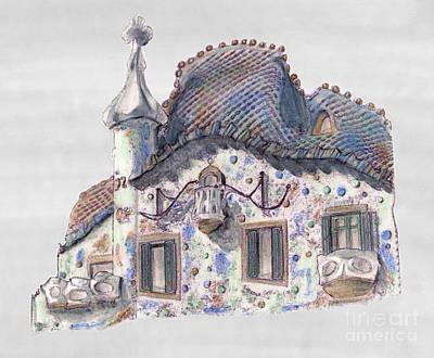 Gaudi Drawing - Rooftop At Casa Batllo Barcelona by Gerald Blaikie