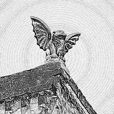 Fiend Digital Art - Rooftop Gargoyle Statue Above French Quarter New Orleans Black And White Colored Pencil Digital Art by Shawn O'Brien