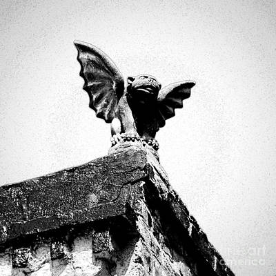 Photograph - Rooftop Gargoyle Statue Above French Quarter New Orleans Black And White Ink Outlines Digital Art by Shawn O'Brien