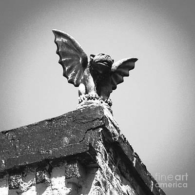 Fiend Digital Art - Rooftop Gothic Gargoyle Statue Above French Quarter New Orleans Black White Film Grain Digital Art by Shawn O'Brien