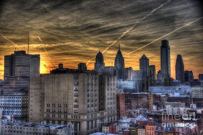 Philadelphia Skyline Photograph - Rooftop Sunset Philadelphia by Mark Ayzenberg
