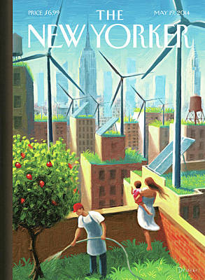 Empire State Building Painting - Rooftop Urban Gardening In New York by Eric Drooker