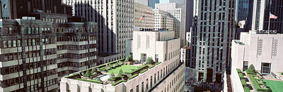 Flagpole Photograph - Rooftop View Of Rockefeller Center by Panoramic Images