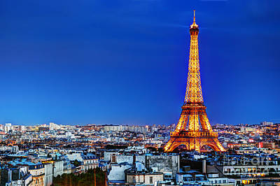 Rooftop View On The Eiffel Tower Art Print
