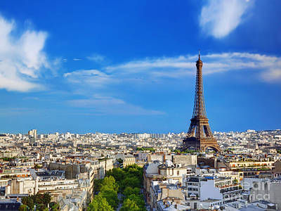 Paris Skyline Photograph - Rooftop View On The Eiffel Tower Paris France by Michal Bednarek