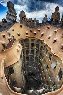 Antoni Gaudi Wall Art - Photograph - Rooftop With Chimneys Of Casa Mila by George Oze