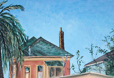 Painting - Rooftops And Blue Sky by Asha Carolyn Young