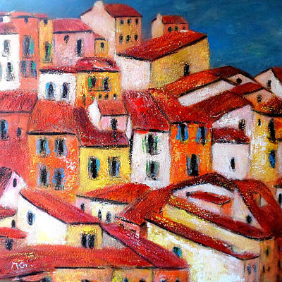 South Of France Painting - Rooftops Collioure by K McCoy