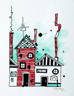 Rooftop Mixed Media - Rooftops by Emily Pinnell