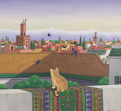 Persian Carpet Painting - Rooftops In Marrakesh by Larry Smart
