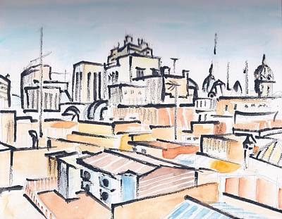 Painting - Rooftops Of Barcelona Sketch by Vic Delnore