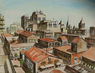 Rooftops Of Barcelona Original by Vic Delnore