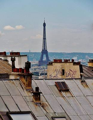 Montmartre Photograph - Rooftops Of Paris And Eiffel Tower by Marilyn Dunlap