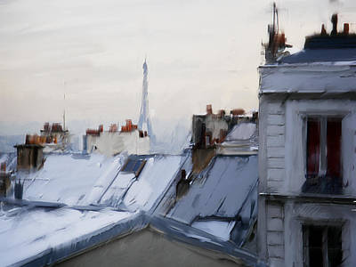 Paris Wall Art - Painting - Rooftops Of Paris by H James Hoff