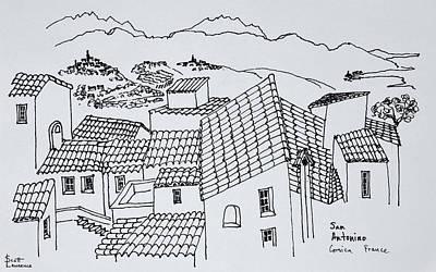 Rooftops Of Sant'antonino, Corsica Art Print
