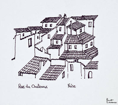 Rooftops Of The Old City Along Rue De Art Print