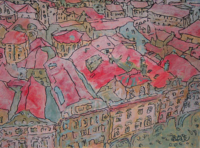 Painting - Rooftops  by Oscar Penalber