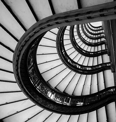 Photograph - Rookery Building Looking Up The Oriel Staircase - Black And White by Anthony Doudt