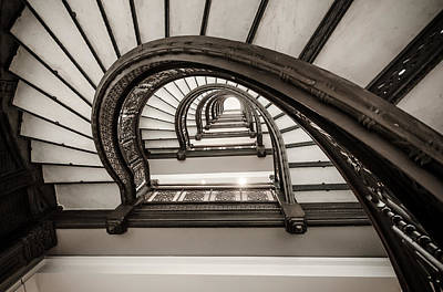 Photograph - Rookery Building Off Center Oriel Staircase by Anthony Doudt