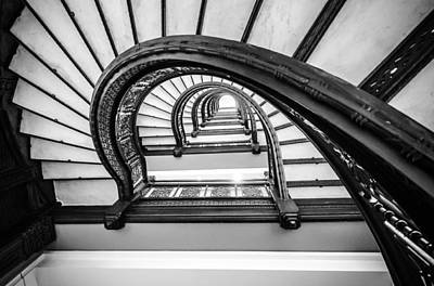Photograph - Rookery Building Off Center Oriel Staircase - Black And White by Anthony Doudt