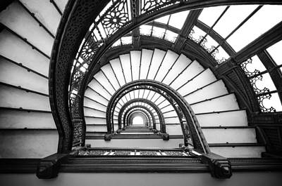 Photograph - Rookery Building Oriel Staircase - Black And White by Anthony Doudt