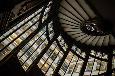Photograph - Rookery Building Oriel Staircase Windows by Anthony Doudt
