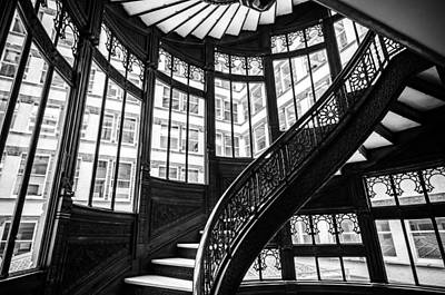 Photograph - Rookery Building Winding Staircase And Windows - Black And White by Anthony Doudt