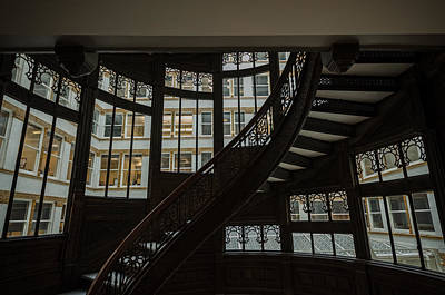 Photograph - Rookery Building Winding Staircase And Windows by Anthony Doudt