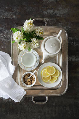 Photograph - Room Service, Tea Tray With Lemons by Pam Mclean