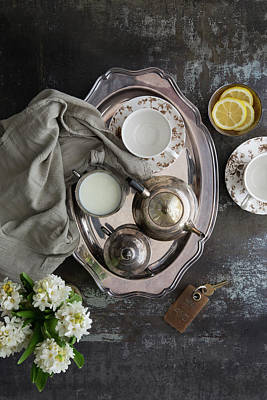 Room Service, Tea Tray With Milk And Art Print by Pam Mclean