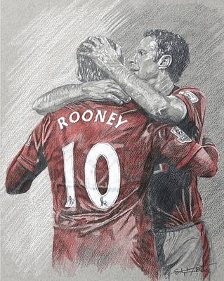 Wayne Rooney Drawing - Rooney And Giggs by Stephen Rea