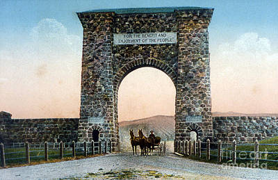 Photograph - Roosevelt Arch Yellowstone Np by NPS Photo Frank J Haynes