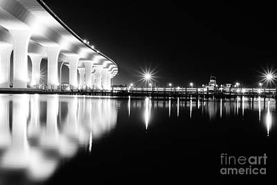 Photograph - Roosevelt Bridge And Night Train B W by Lynda Dawson-Youngclaus