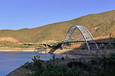 Blue Water Photograph - Roosevelt Lake Bridge Arizona by Christine Till