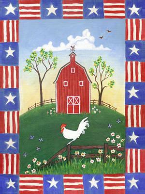 Rooster Americana Art Print by Linda Mears