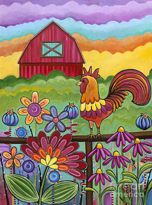 Painting - Rooster And Barn by Carla Bank
